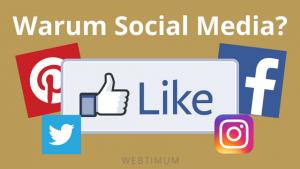 Titelbild aus Logos von sozialen Netzwerken wie Instagram, Twitter & Facebook, in der Mitte ein Like