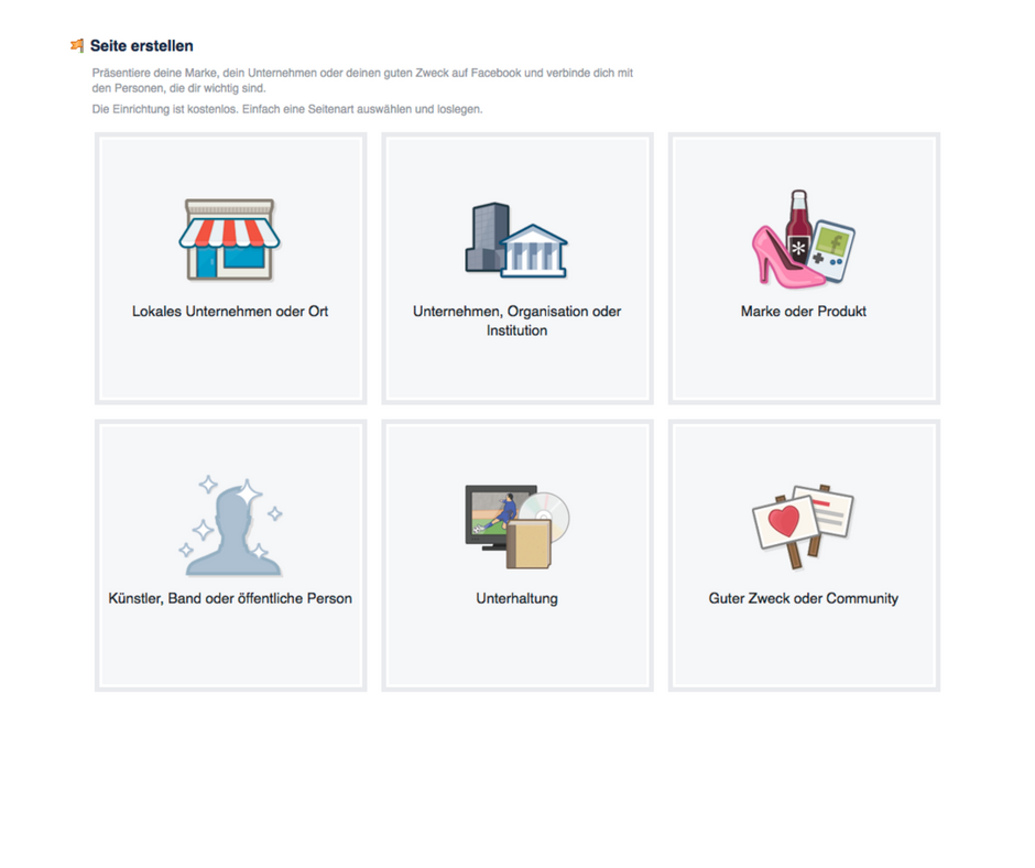 Facebook-Kategorien zur Auswahl