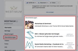 Dienstleistungen bei Facebook einrichten