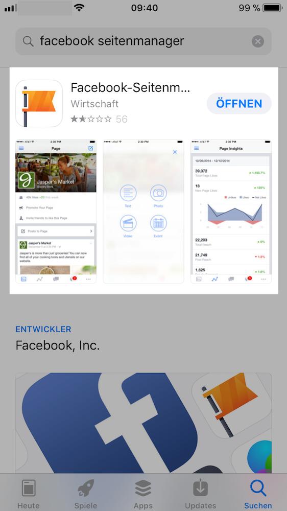 Facebook-Unternehmensseite bequem mobil verwaltet mit der Facebook-Seitenmanager-App