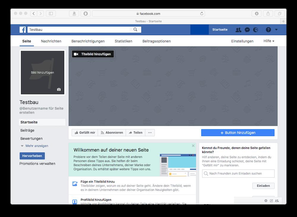 So sieht eine Facebookseite ohne Inhalte aus, die gerade erstellt wurde.