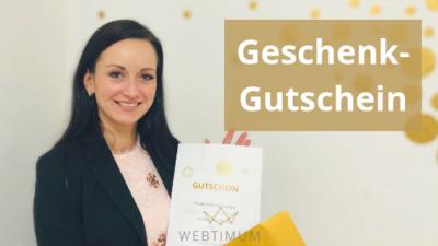 WEBTIMUM-Geschenkgutschein für ein persönliches Coaching zu Suchmaschinenoptimierung (SEO) sowie Facebook-Marketing und Instagram-Marketing